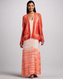 XCVI Piru Embroidered Mesh Cardigan & Hancock Ombre Crepe Dress