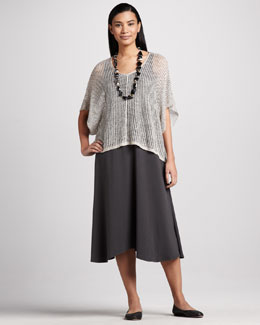 Eileen Fisher Linen Twist Mesh Top & Sleeveless Jersey Long Dress. Women's