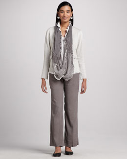 Eileen Fisher Cotton Metallic Jacket, Linen Shimmer Easy Tee, Linen-Blend Trousers & Infinity Scarf