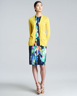 Lela Rose Silk-Trim Cardigan & Abstract-Print Sheath Dress