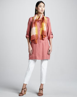 Eileen Fisher Slim Ankle Pants, Tunic/Dress & Silk Shibori Scarf, Petite