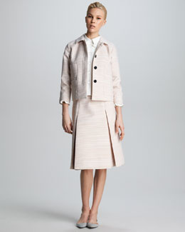 Marc Jacobs Striped Four-Pocket Jacket, Ruffled Shirt & Striped Pleated A-Line Skirt