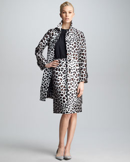 Marc Jacobs Leopard-Print Satin Jacket, Lace-Trim Short-Sleeve Top & Leopard-Print Satin Skirt