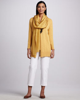 Eileen Fisher Open Slub Cardigan, Tank, Whisper Silk Scarf & Twill Slim Pants, Petite