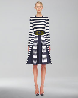 Michael Kors  Striped Cashmere Top & Mix-Stripe Shantung Skirt