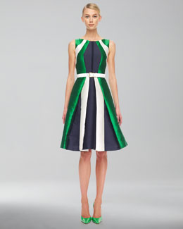 Michael Kors  Colorblock Shantung Dress & Leather Belt