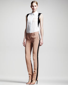 Reed Krakoff Leather-Trim Sleeveless Shirt & Slim Trousers