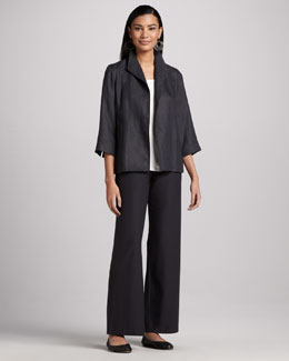 Eileen Fisher Linen Basket Jacket, Jersey Tank, Washable-Crepe Wide-Leg Pants & Infinity Scarf, Women's