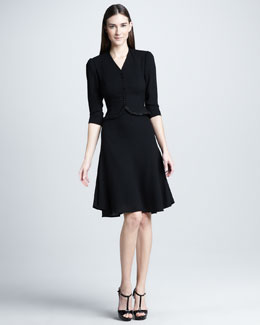 Ralph Lauren Collection Piped Wool Jacket & Flared Skirt
