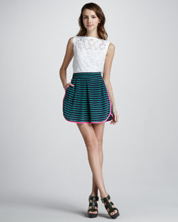 Nanette Lepore Sunday Morning Floral-Mesh Top & Caricature Striped Skirt