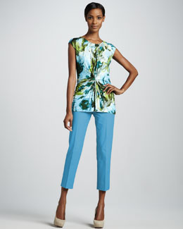 Lafayette 148 New York Garden-Print Jersey Gathered Top & Bleecker Cropped Pants