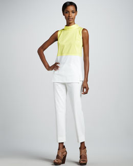 Lafayette 148 New York Raven Colorblock Blouse & Bleecker Cropped Pants