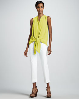 Lafayette 148 New York Deondra Crepe Tie Blouse & Bleecker Cropped Jodhpur Pants