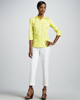 Lafayette 148 New York Felice Pintucked Stretch Blouse & Bleecker Cropped Jodhpur Pants