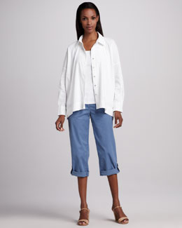 Eileen Fisher Classic Stretch-Linen Shirt & Cuffed Twill Capri Pants