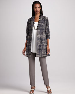 Eileen Fisher Illusion Jacquard Coat, Silk Jersey Tunic & Silk-Georgette Pants , Women's