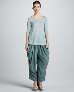 Donna Karan Cashmere Trapeze Top & Draped Silk Pants