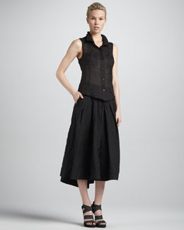 Donna Karan Sleeveless Open-Back Blouse & Jersey-Waist Mock Wrap Skirt