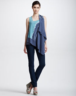 Donna Karan Cascading Tie-Dye Scarf Top & Second-Skin Seamed Jeans