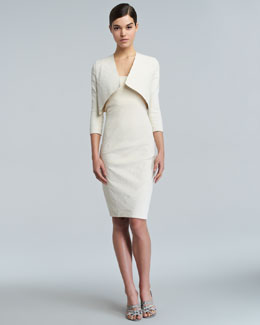 Donna Karan Round-Cropped Cardigan & Spiral-Seamed Cross-Back Sheath Dress