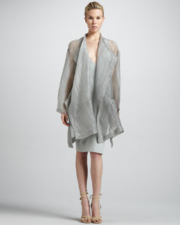 Donna Karan Glassy Silk Topper & Deep V-Neck Knit Dress
