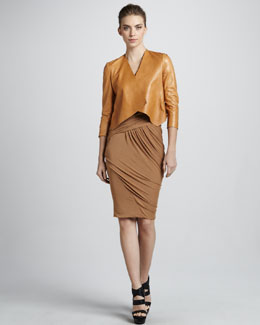 Donna Karan Folded Leather Jacket & Cap-Sleeve Bias Jersey Dress