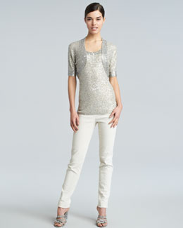 Donna Karan Sequined Evening Shrug, Sequined Shell & Slim Side-Zip Ankle Pants