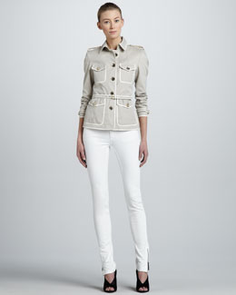 Burberry London Contrast-Trim Short Trenchcoat & Skinny Ankle-Zip White Jeans