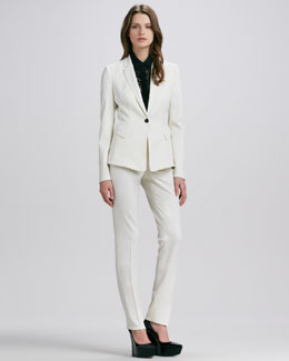 Burberry Prorsum One-Button Blazer, Short-Sleeve Lace Blouse & Straight-Leg Pants