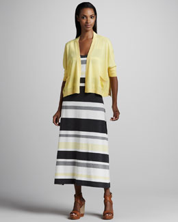 Joan Vass Boxy Jersey Cardigan & Striped Jersey Maxi Dress, Petite