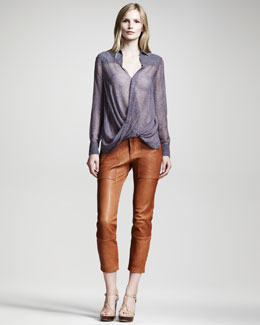 10 Crosby Derek Lam Geometric-Print Silk Blouse & Cropped Leather Pants