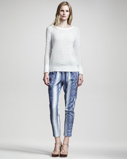 10 Crosby Derek Lam Crochet Sweater & Lizard-Print Slouchy Pants