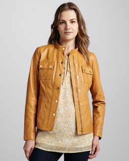 Tory Burch Beacon Leather Jacket & Sophie Tie-Neck Tunic
