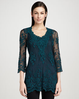XCVI Maidenfair Mesh Embroidered Tunic & Long Knit Tank