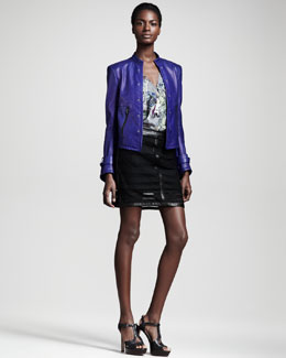 Kelly Wearstler Automata Leather Jacket, Alchemy Kaleidoscope-Print Tee & Microcosm Leather-Trim Lace Skirt