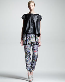 Kelly Wearstler Turn-Key Faux-Leather Top & Array Kaleidoscope Chiffon Pants