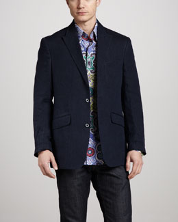 Robert Graham Unmoor Linen Blazer & Twist Kaleidoscope Sport Shirt