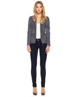 MICHAEL Michael Kors  Striped Knit Blazer  & Zipper-Cuff Skinny Jeans