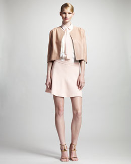 Chloe Agneau Jacket, Sleeveless Pleated Blouse & A-Line Skirt