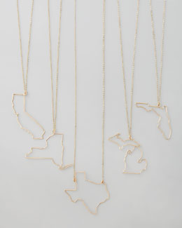 GaugeNYC Gold State Pendant Necklaces