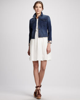 Burberry Brit Check-Cuff Denim Jacket & Back-Zip Short-Sleeve Dress