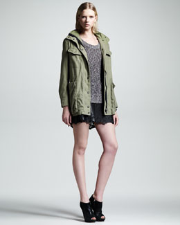 Rag & Bone M15 Field Jacket, Lory Melange Sweater & Paris Laser-Cut Leather Skirt