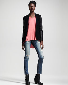 Rag & Bone Leather-Sleeve Moto Blazer & Helena Top