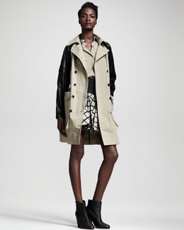 Rag & Bone Bishop Leather-Sleeve Trenchcoat & Daisy Windowpane Skirt