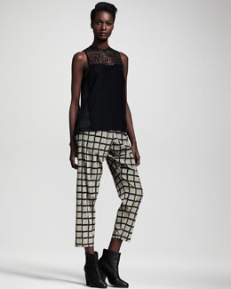 Rag & Bone Abigayle Combo Blouse & Easy-Fit Windowpane Pants