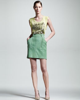 Kelly Wearstler Cyclone Graphic Tank & Phenomena Leather Skirt