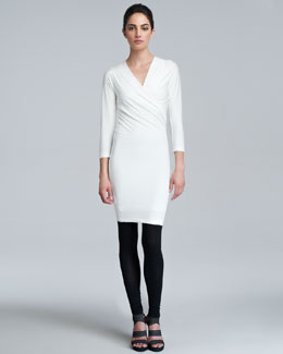 Donna Karan Three-Quarter-Sleeve Draped Tunic Dress & Knit Leggings