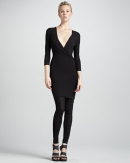 Donna Karan Twist-Drape Tunic Dress & Knit Leggings