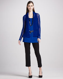 Eileen Fisher Slim Ankle Pants, Sleeveless Jersey Tunic, Flutter Cardigan & Colorblock Ring Belt