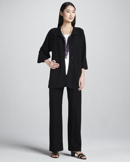 Eileen Fisher Stand Collar Jacket, Silk Jersey Tee & Slim Boot-Cut Pants, Women's